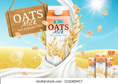 Oats milk ads with carton container and mellow milk pouring down in 3d illustration, golden grain field background