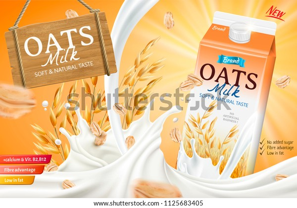 Oats Milk Ads Carton Container Splashing Stock Vector
