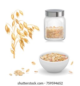 Oats, oat flakes in glass. Oatmeal and muesli in white bowl realistic vector icon