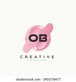 OB Initial Letter logo icon design template elements with wave colorful art.