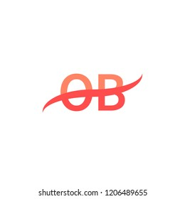 OB Initial Letters Logo Design with Swoosh Illustration Template in Red Color Concept