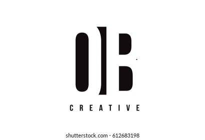 OB O B White Letter Logo Design with Black Square Vector Illustration Template.