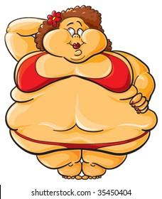 Obese. Funny cartoon illustration of fat woman in bikini.