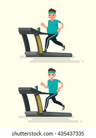 Obese man running on a treadmill and he  after slimming. Vector illustration of a flat design