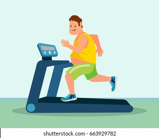 Obese man running on a treadmill. Fatso training in sweat to get rid of fat belly.  Overweight loss concept . Isolated. Vector.