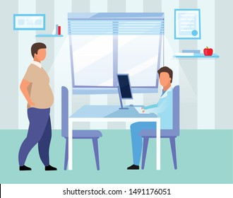 Obese man visiting doctor flat vector illustration. Overweight adult consulting nutritionist cartoon characters. Male physician, dietitian examining patient with obesity problem in hospital