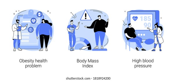 Obese people abstract concept vector illustration set. Obesity health problem, body mass index, high blood pressure, nutrition plan, junk food, body fat, heart attack, diabetes abstract metaphor.