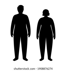 Obese woman and man silhouettes. Person with overweight. Female and male persons with high fat level of BMI range. Adult people with the problem of excess weight concept. Isolated vector illustration.