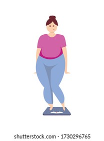 Obese woman on the scales. Excess weight problems. Obese woman on the scales. Excess weight problems