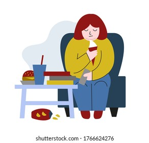 Obese young woman. Fat boy sitting on chair. Concept of obesity, binge eating disorder, food addiction. Mental illness, behavioral problem, psychiatric condition. Flat cartoon vector illustration.