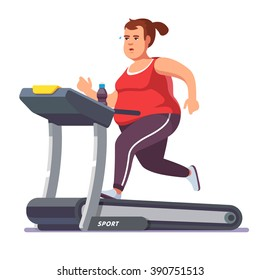 Obese young woman running on treadmill. Girl working out in sweat to get rid of fat belly. Flat style modern vector illustration.
