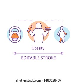 Obesity disease concept icon. Overweight problem idea thin line illustration. Unhealthy nutrition, junk food eating. Excessive weight, body fat. Vector isolated outline drawing. Editable stroke