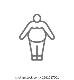 Obesity, fat man, chubby line icon.