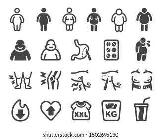 obesity icon set,vector and illustration