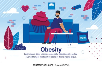 Obesity and Unhealthy Lifestyle, Vascular Diseases and Diabetes Prevention Trendy Flat Vector Banner, Poster Template. Obese, Overweight Man Sitting on Sofa at Home, Eating Unhealthy Food Illustration