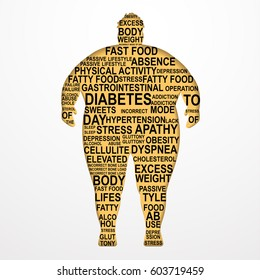 Obesity Vector illustration Causes and consequences of obesity Silhouette of a fat man with text composition on white background Poster template Paper art