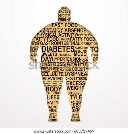 obesity vector illustration causes consequences obesity のベクター