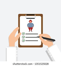 Obesity in women.  Doctor's hand holding clipboard. Nutritionist. Medical recipe and healthcare report. Vector Illustration