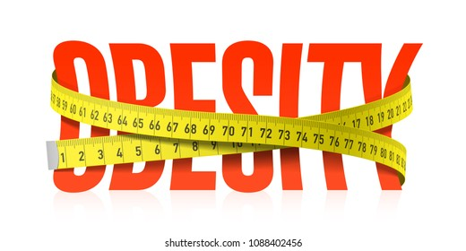 Obesity word with measuring tape, diet theme. Vector illustration