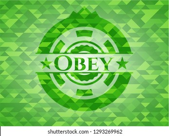 Obey green emblem with mosaic ecological style background