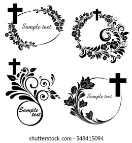 Obituary notice - art deco frames with cross. Collection of Christian Symbol design elements isolated on White background. Vector illustration