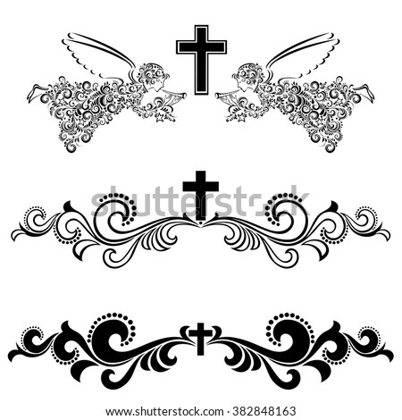 Obituary Notice Art Deco Frames Cross Stock Vector (Royalty Free ...