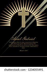 Obituary template with golden cross and light beams. tasteful luxurious funeral announcement with golden decor on black background.