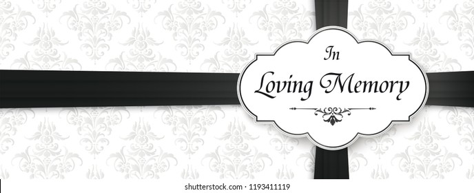 Obituary with the text In Loving Memory. Eps 10 vector file.