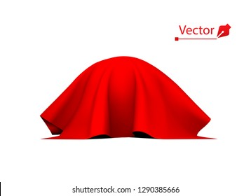 Object, ball or sphere covered with red cloth. Silk, satin fabric with pleats.