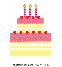 object concept -  cake birthday vector illustration isolated on white background