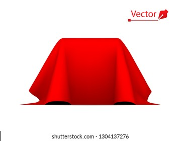 Object covered with red silk cloth. Empty podium or presentation. Secret box, cube hidden under satin fabric with drapery.