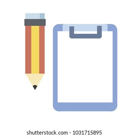 object and equipment concept -  Pencil and paper vector illustration isolated on white background