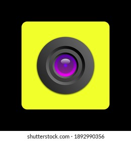 An object in the form of a camera with a lens in a yellow case is depicted.