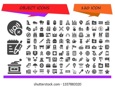 object icon set. 120 filled object icons.  Collection Of - Vynil, Grinder, Notes, Waterpark, Beret, Balloons, Fridge, Mouse, Recorder, Gifts, Walkie talkie, Placeholder, Nuclear