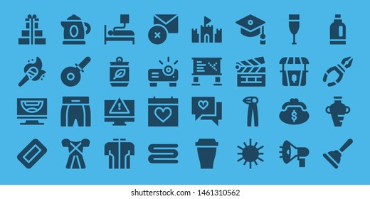 object icon set. 32 filled object icons. on blue background style Collection Of - Gifts, Torch, Computer, Soap, Kettle, Pizza cutter, Boxing shorts, Dress, Blood donation, Can