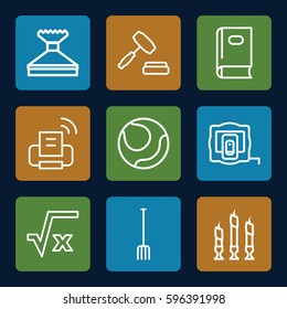 object icons set. Set of 9 object outline icons such as measure tape, book, window squeegee, pitchfork, candle, auction, printer, square root