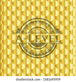 [object OA-Level gold badge or emblem. Scales pattern. Vector Illustration. Detailed.bject]
