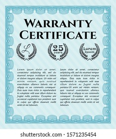 [object OLight blue Warranty Certificate template. With quality background. Money Pattern design. Detailed. bject]