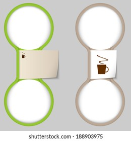 object with paper on notes and two circular area for entering text