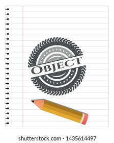 Object pencil strokes emblem. Vector Illustration. Detailed.