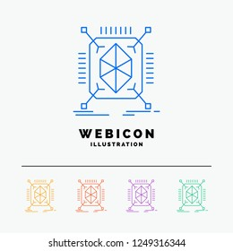 Object, prototyping, rapid, structure, 3d 5 Color Line Web Icon Template isolated on white. Vector illustration