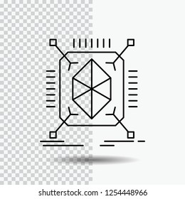 Object, prototyping, rapid, structure, 3d Line Icon on Transparent Background. Black Icon Vector Illustration