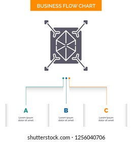 Object, prototyping, rapid, structure, 3d Business Flow Chart Design with 3 Steps. Glyph Icon For Presentation Background Template Place for text.