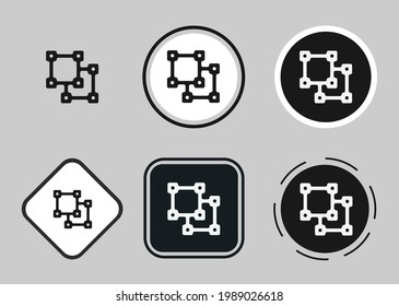 object ungroup icon set. Collection of high quality black outline logo for web site design and mobile dark mode apps. Vector illustration on a white background