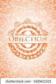 Objection abstract orange mosaic emblem