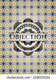 Objection arabic emblem background. Arabesque decoration.