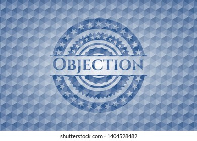 Objection blue emblem with geometric pattern background. Vector Illustration. Detailed.