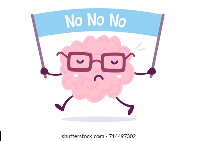 Objection cartoon brain concept. Vector illustration of pink color human brain with glasses holds the banner on white background. Doodle style. Flat style design of character brain for training