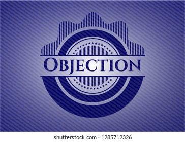 Objection emblem with denim texture