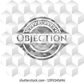 Objection grey badge with geometric cube white background